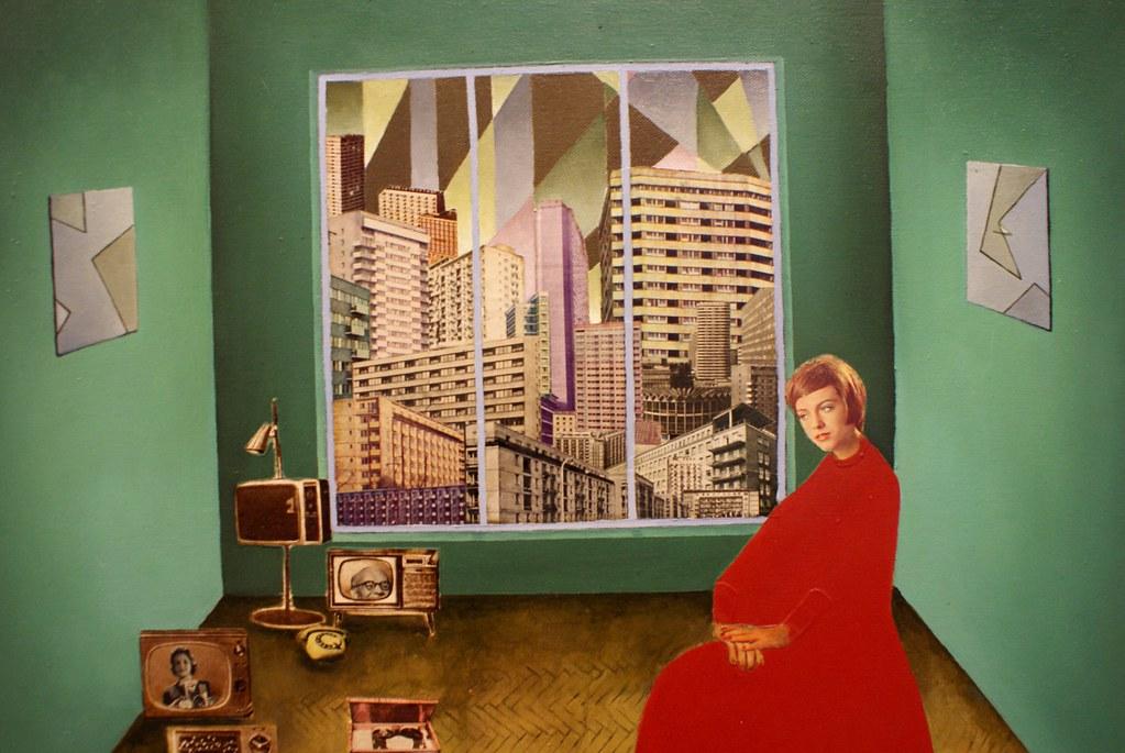 Collage reprenant des batiments d'architecture moderniste de Mateusz Szczypinski. Mocak de Cracovie.