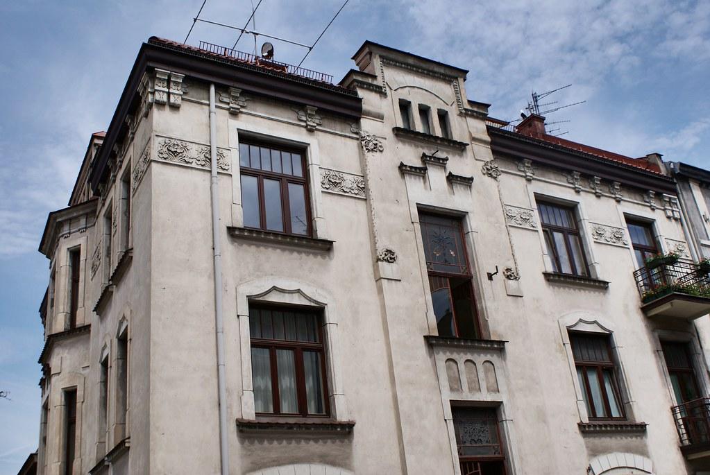 Immeuble art nouveau du quartier de Podgorze à Cracovie.
