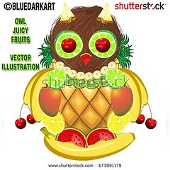 NEW #Cute #Owl  #Fruity & #Juicy :watermelon: #vectorillustration by #bluedarkArt :banana: #licensesforsale at @shutterstock :arrow_right::arrow_right::arrow_right: https://www.shutterstock.com/image-vector/owl-juicy-fruits-673991179 :cherries:  #vectorar