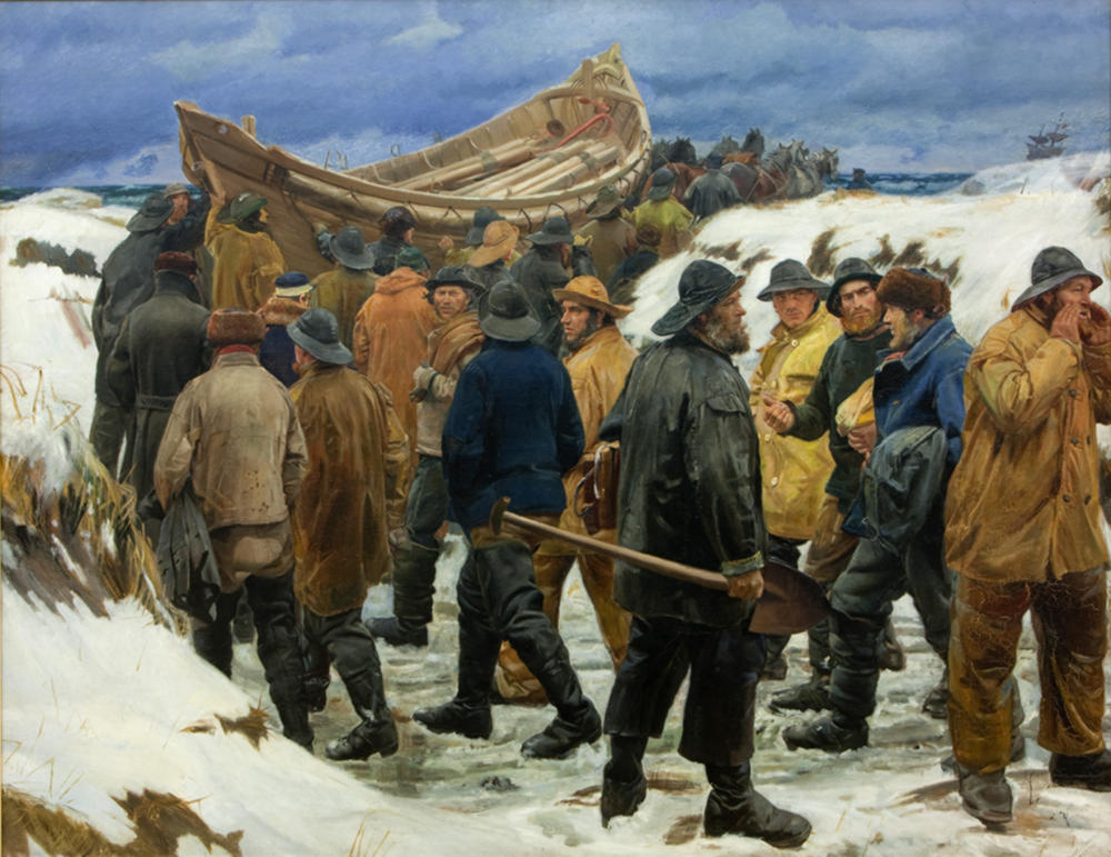 The lifeboat is driven through the dunes by Michael Ancher, 1883