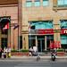 Facade of modern coffee shops in Saigon, Vietnam