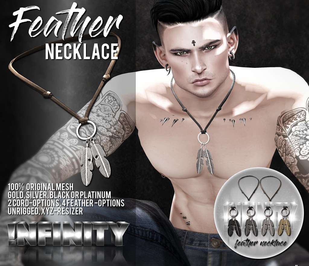 !NFINITY Feather Necklace @ Men Only Monthly - SecondLifeHub.com
