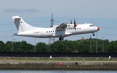 DOT LT ATR42-500 LY-DAT taking off at London City Airport