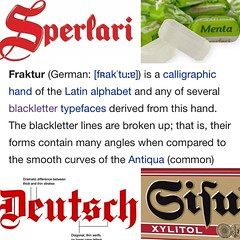 Today's #typeface story - as we are eating Menta candies by Spelari, my first instinct when seeing the logo is German, specifically with the S. I find out that a common German #blackletter is Fraktur, which the capital S is used in the logo for my favorit