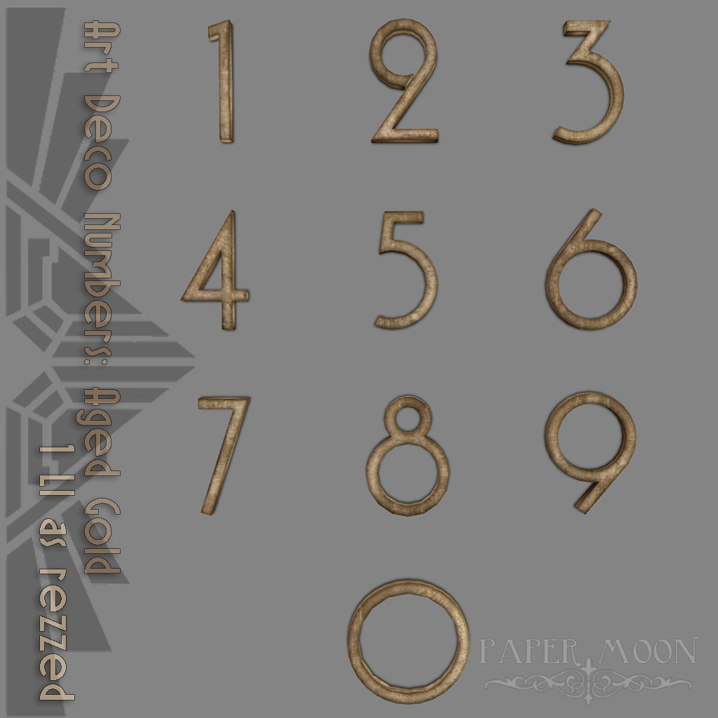*pm* Art Deco Numbers Aged Gold advert - SecondLifeHub.com