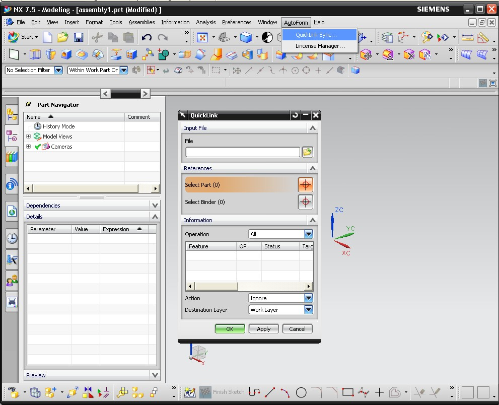 Working with AutoForm^Plus R4 full in NX 7.5