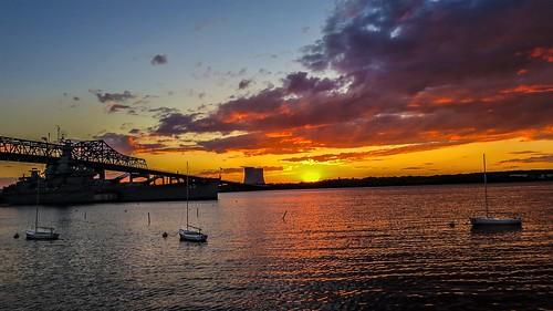 battleship cove fall river ma sunset sky water reflection red andrewlincolnphotographer bridge braga