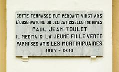 Photo of Paul Jean Toulet stone plaque