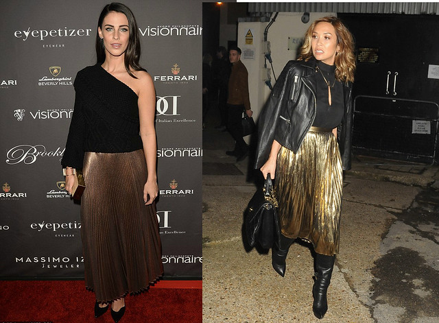 gold-maxi-accordion-skirt, one-shoulder-top, black-leather-jacket-black-over-the-knee-boots