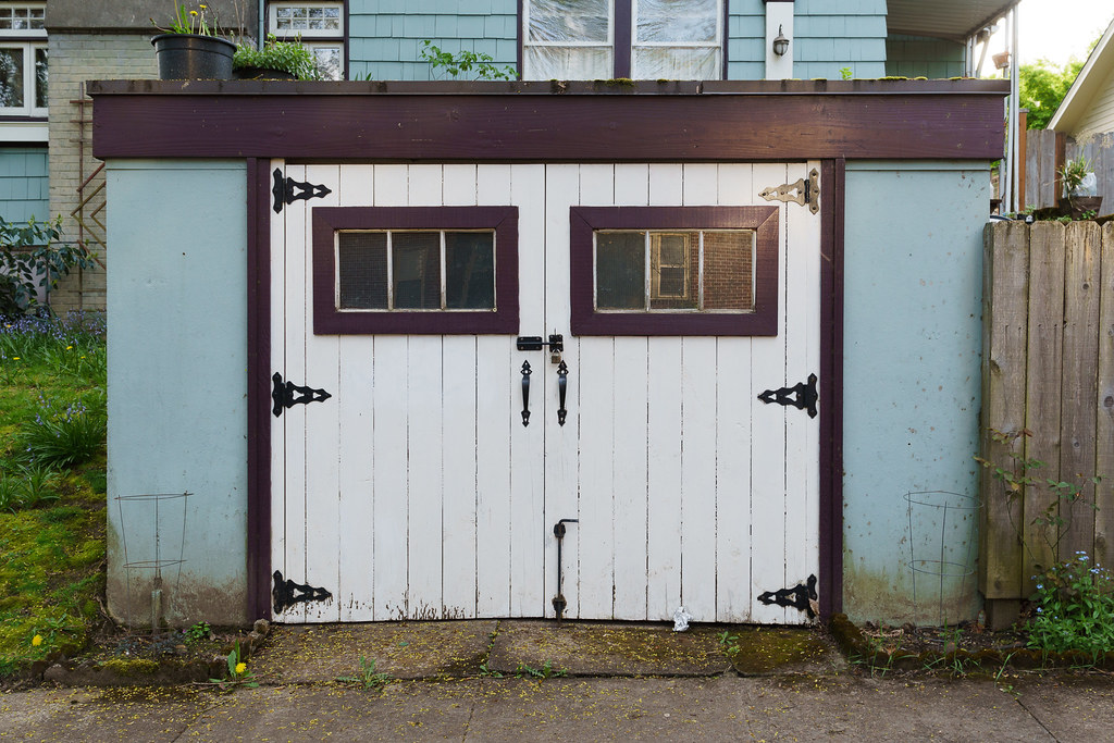 An old garage in Portland's Irvington neighborhood