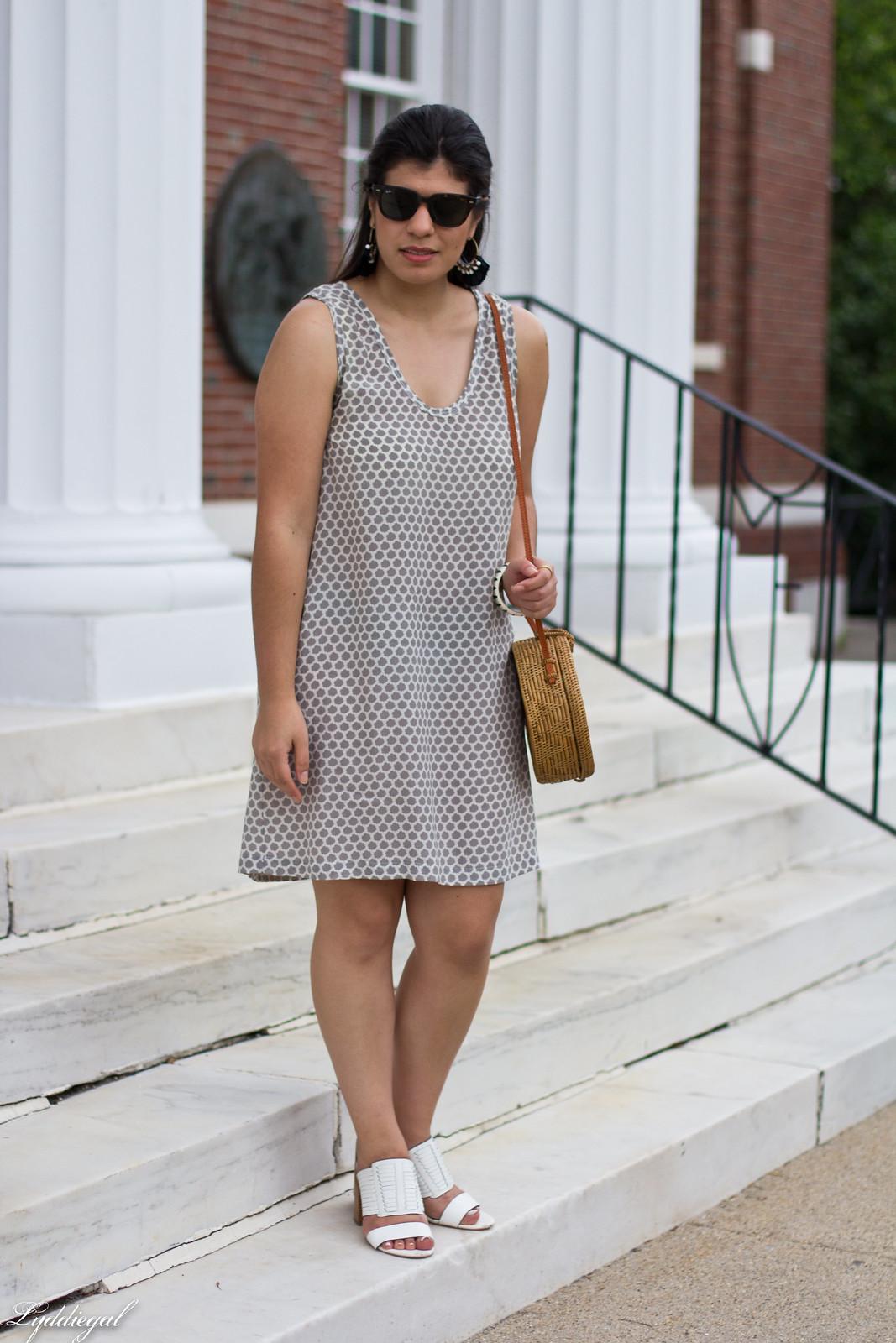 joie cloudburst dress, round straw bag, statement earrings-1.jpg