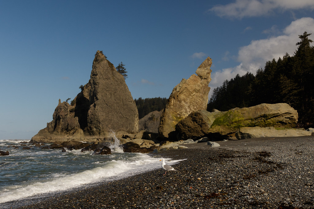 Large rocks stretch to the sky at Rialto Beach in Olympic National Park