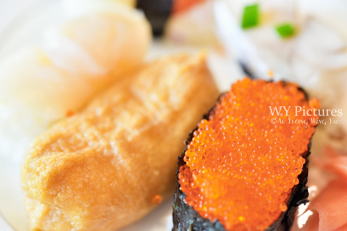 Plate Of Sushi And Salmon Roe Close-up
