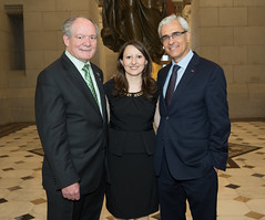 Fernando G. Rosa, Director of the Portuguese-American Leadership Council of the United States (PALCUS), State Rep. Rosa C. Rebimbas and Portugal Ambassador to the United States Domingos Fezas Vital after the annual Day of Portugal ceremony at the State Capitol on Friday, June 9, 2017.