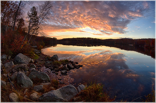goldenhour landscape sunset fisheye nature reflection 2016 weather orange clouds forest water colors rocks lake color sky outdoors southfields newyork unitedstates us