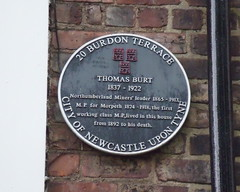 Photo of Thomas Burt black plaque