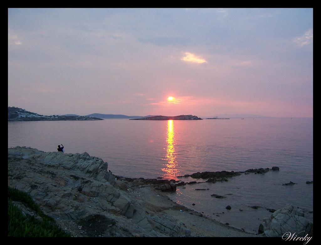 Crucero por el Mediterráneo - Atardecer en Mykonos