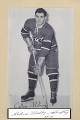 """1944-63 NHL Beehive Hockey Photo / Group II - CALUM """"BALDY"""" MacKAY (Left Wing) (b. 1 Jan 1927 - d. 21 Aug 2001 at age 74) - Autographed Hockey Card (Montreal Canadiens) (#271 / Name misspelled Callum McKay)"""