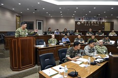Master Chief Christopher Stone, command master chief for Commander, U.S. Naval Forces Korea speaks during the second annual U.S./ROK Senior Enlisted Leadership Development Program, June 14. (U.S. Navy/MC2 Jermaine Ralliford)