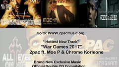 Official page of the All Eyes on Me movie soundtrack brought to you by Moe P Music and Films. Visit http://www.2pacmusic.org/ to listen today!!🎶🎶🎶#AllEyesOnMeSoundtrack #WarGames2017 #2Pac #ChromeKorleone #MoePMusicandFilms #Biopic #Tupa