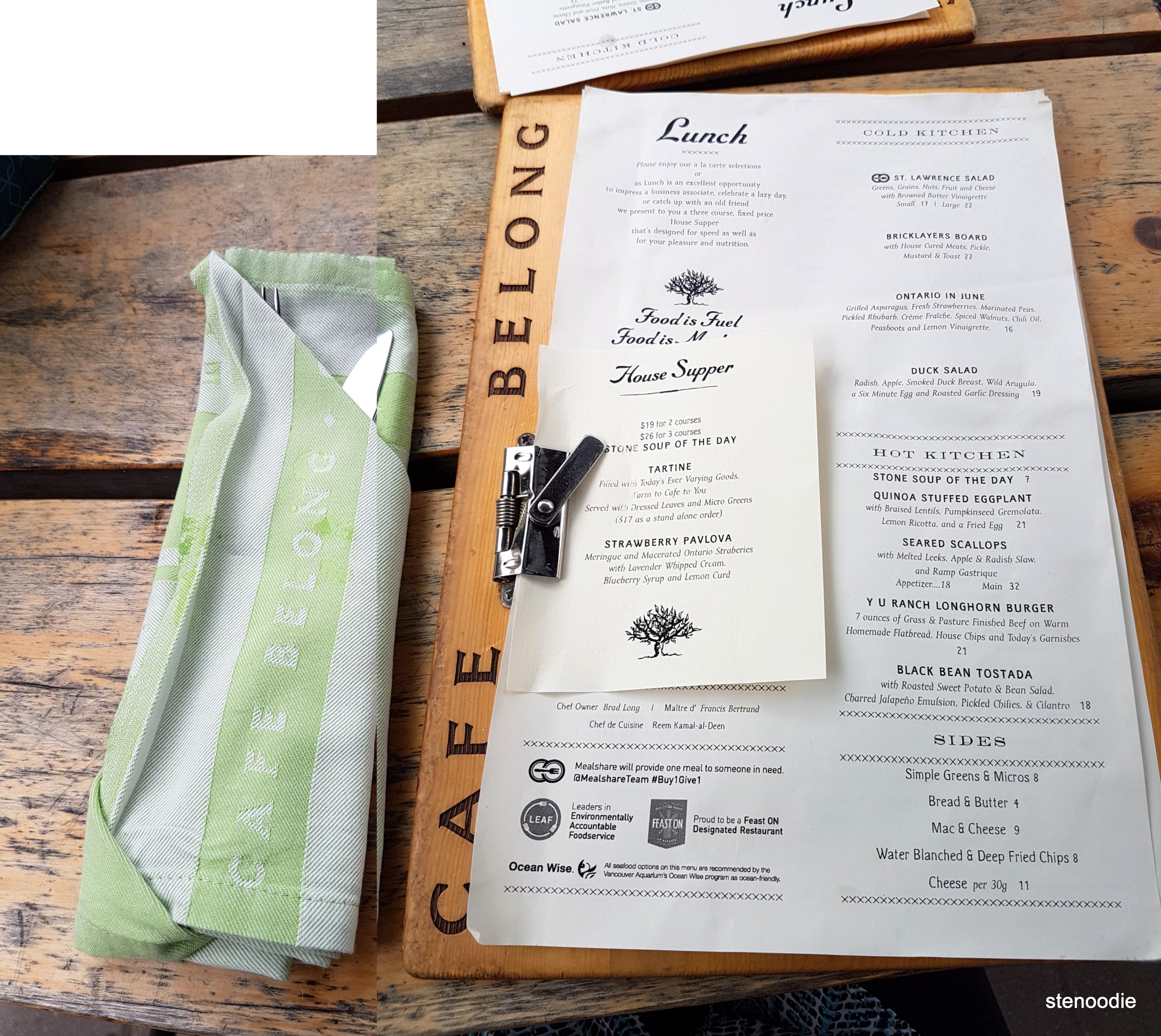 Cafe Belong lunch menu