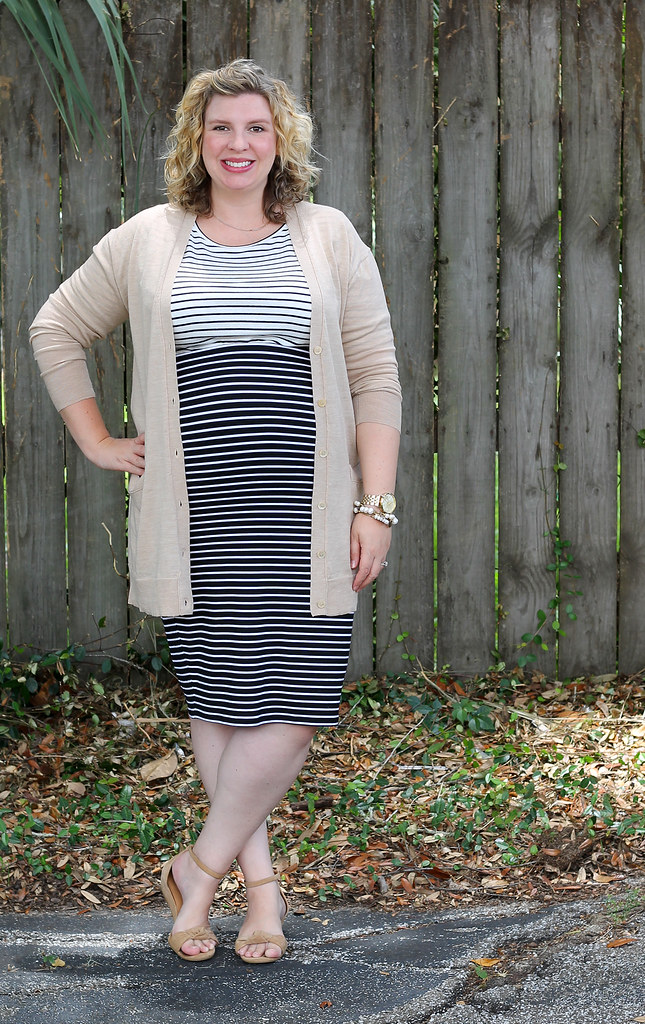 black and white stripe pencil skirt, white and black stripe shirt and tan cardigan 5