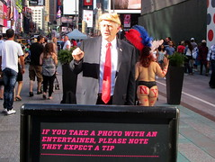 Times Square, NYC, 06/24/17: man dressed as Donald Trump, a new addition to the costumed characters who pose for photos with tourists for tips (IMG_5167a)