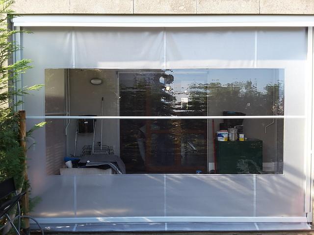 Tenda veranda invernale con finestra in cristal trasparente