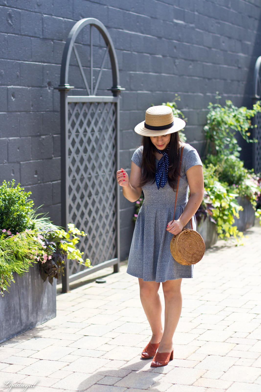 grey dress, mules, round rattan bag, straw hat-2.jpg