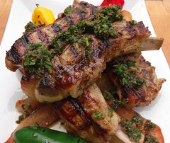GRILLED VEAL BREAST, SAUTEED POTATOES, CHIMICHURRI