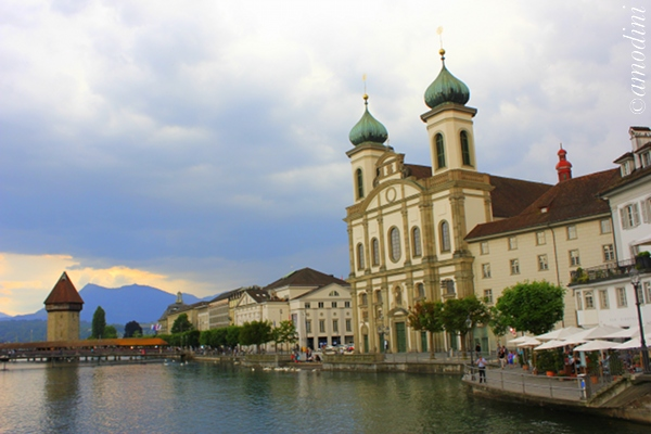 Jesuit Church and Kapellbrucke, Lucerne