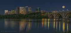 Thunder Moon setting over Rosslyn and Key Bridge