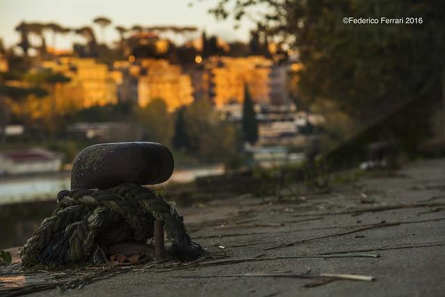 lungotevere della vittoria bitta sfondo palazzi città Roma