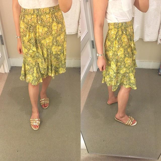 LOFT Sun Garden Flounce Skirt, size XXS regular