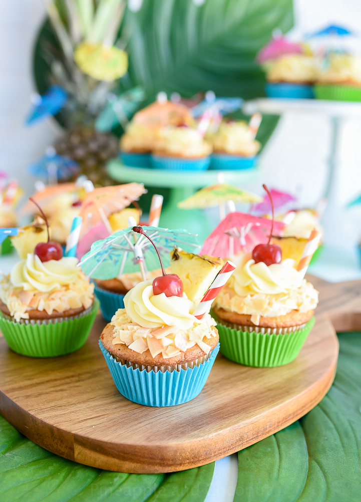 Piña Colada Cupcakes with Haupia filling and Piña Colada Frosting www.pineappleandcoconut.com #AD #DiscoverWorldMarket