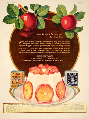 Knox Gelatine's Apple and Rice Delight Recipe - October 1920