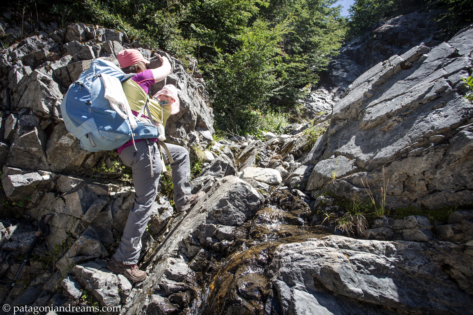 Climbing up a small gully on our way to Paso de las Nubes. Parque Nacional Nahuel Huapi. Rio Negro. Patagonia. Argentina.