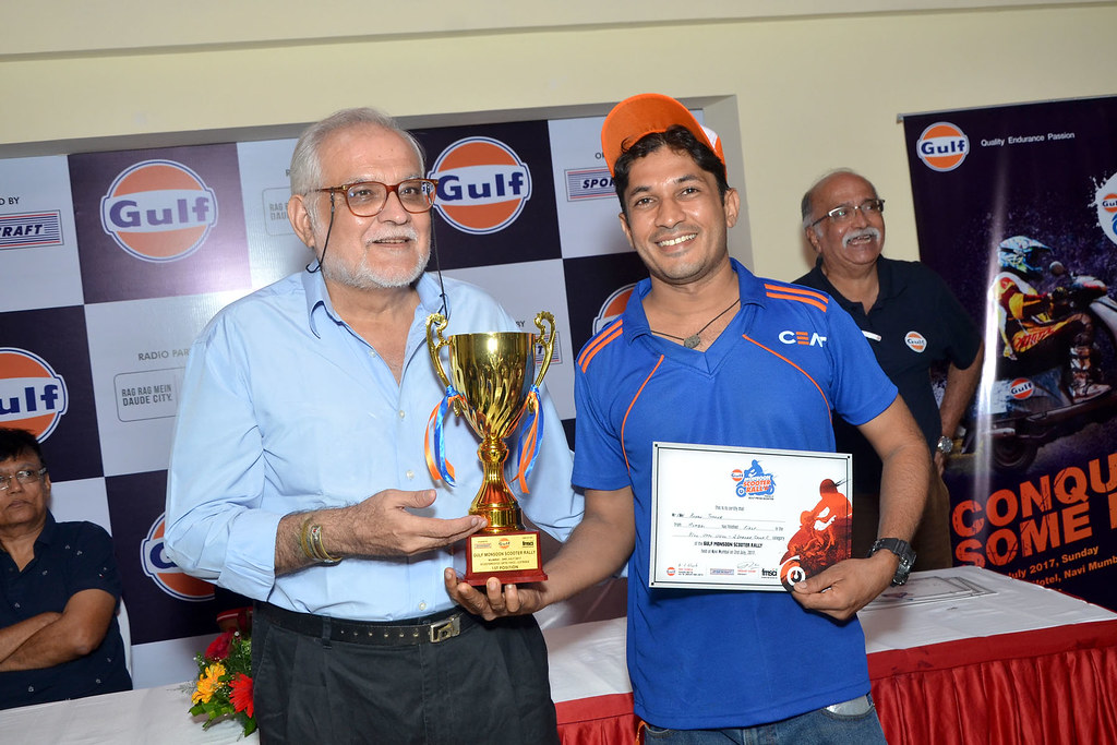Rohan Thankur of Team CEAT wins 1st position - Upto 110CC - 2 Stroke Category at Gulf Monsoon Rally 2017