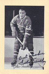 1944-63 NHL Beehive Hockey Photo / Group II - GILLES TREMBLAY (Left Wing) (b. 17 Dec 1938 - d. 26 Nov 2014 at age 75) - Autographed Hockey Card (Montreal Canadiens) (#290A / Dark Background)