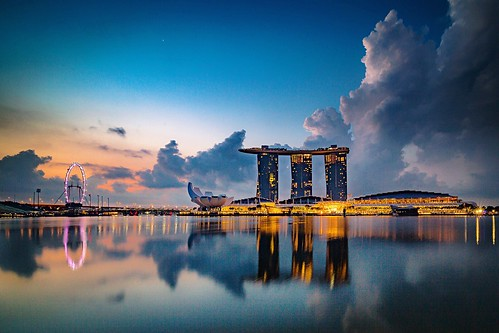 One of these mornings...Singapore😍😍😍 Singapore Singapore View Singapore City Reflection Sky Built Structure Architecture Industry Building Exterior Twilight Down Illuminated Waterfront No People Water Blue Vacation Holiday