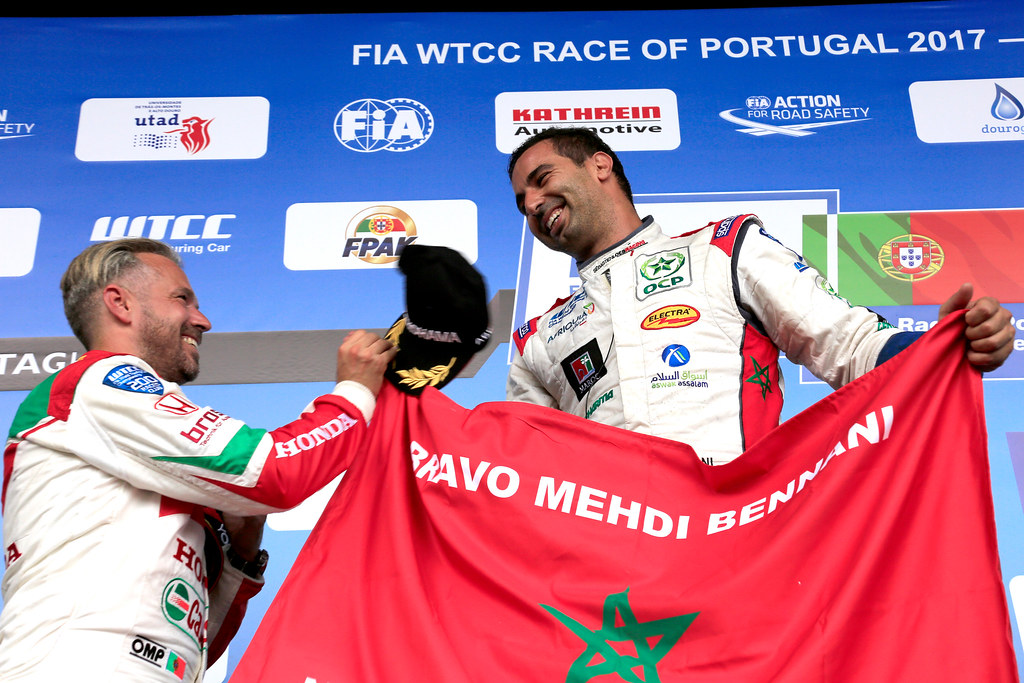 podium ambiance BENNANI Mehdi (mor) Citroen C-Elysee team Sébastien Loeb Racing ambiance portrait MONTEIRO Tiago (prt) Honda Civic team Castrol Honda WTC ambiance portrait during the 2017 FIA WTCC World Touring Car Championship race of Portugal, Vila Real from june 23 to 25 - Photo Paulo Maria / DPPI