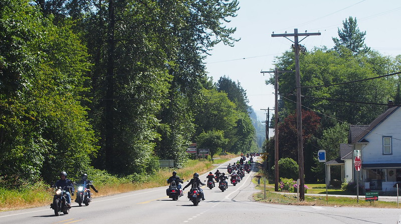 Motorcycle Group: There were at least a few dozen of them heading east on the highway.