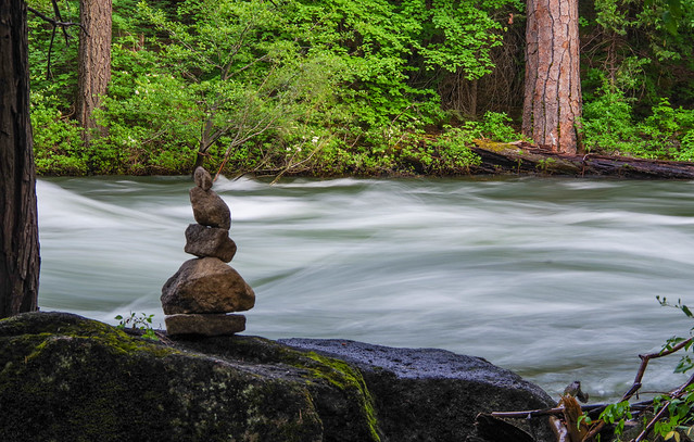 Rock Cairn by Merced River
