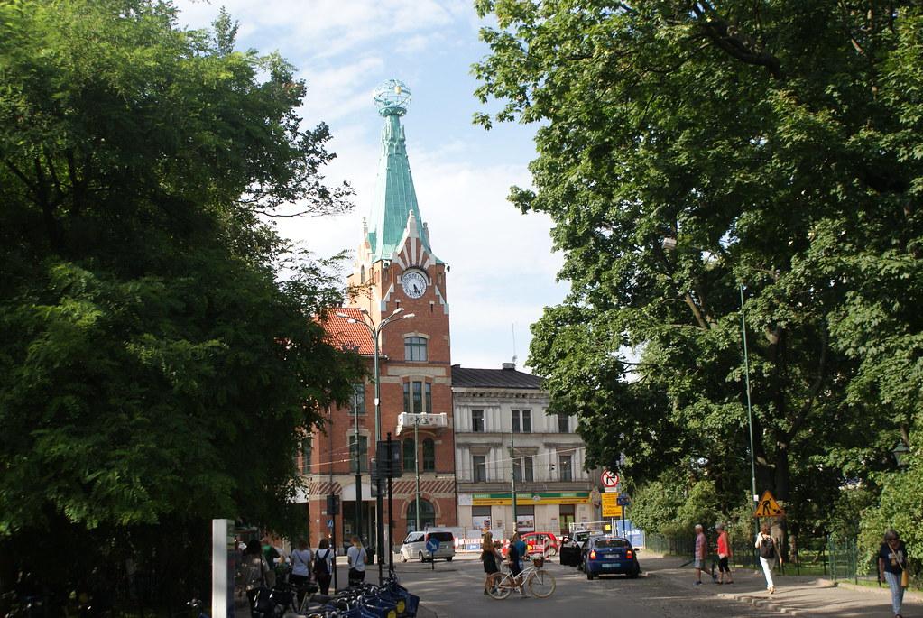 """""""Dom pod Globusem"""", batiment art nouveau sur la ceinture verte des Planty à Cracovie."""