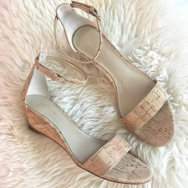 Ann Taylor Petra Cork Wedge Sandals