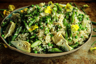 Vegan Asparagus, Artichoke and Pea Risotto from HeatherChristo.com | by Heather Christo