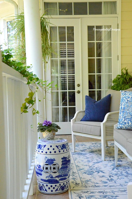 Blue and White-Summer Porch-Garden Stool-Housepitality Designs