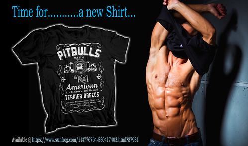 Sexy Man with a Pit Bull T-shirt