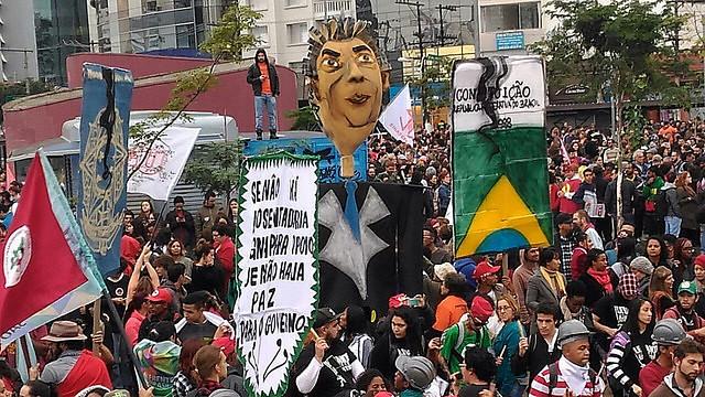 Ato realizado durante paralisação do dia 28 de maio em São Paulo (SP), no Largo da Batata - Créditos: Brasil de Fato