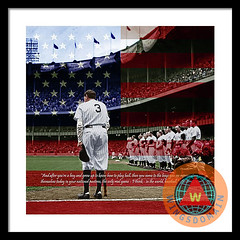 Babe Ruth Baseball Americas Pastime Square With Quote Colorized Framed Print